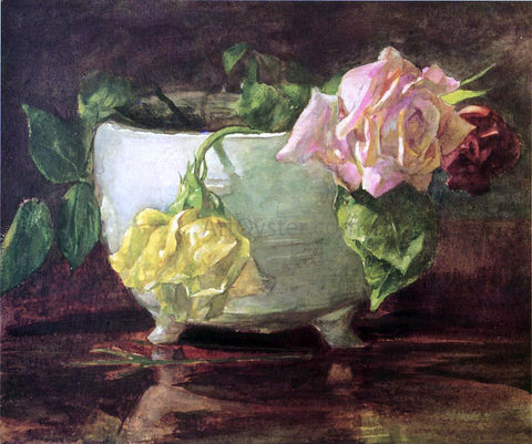 John La Farge Roses in Old Chinese Bowl - Hand Painted Oil Painting