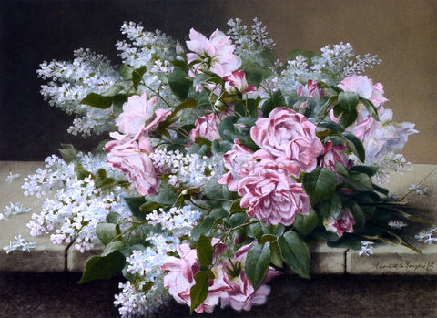 Raoul Paul Maucherat De Longpre Roses on a Marble Tabletop - Hand Painted Oil Painting