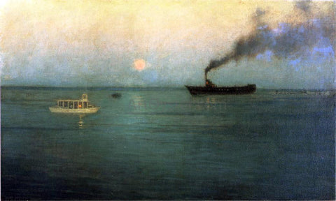 Lowell Birge Harrison Rosy Moon off Charles Harbor - Hand Painted Oil Painting