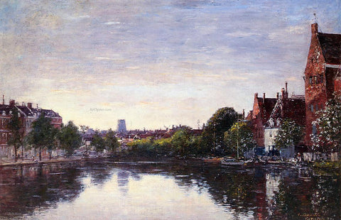 Eugene-Louis Boudin Rotterdam, a Corner of the Basin - Hand Painted Oil Painting