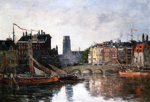 Eugene-Louis Boudin Rotterdam, the Pont de la Bourse - Hand Painted Oil Painting
