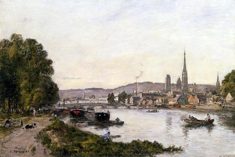 Eugene-Louis Boudin Rouen, View over the River Seine - Hand Painted Oil Painting