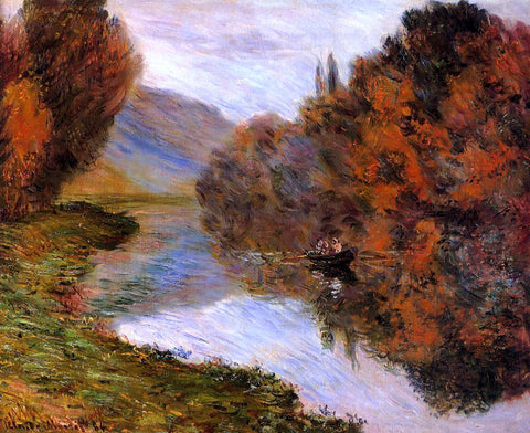 Claude Oscar Monet Rowboat on the Seine at Jeufosse - Hand Painted Oil Painting