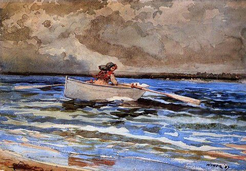 Winslow Homer Rowing at Prout's Neck - Hand Painted Oil Painting