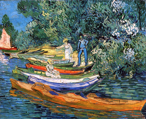 Vincent Van Gogh Rowing Boats on the Banks of the Oise - Hand Painted Oil Painting