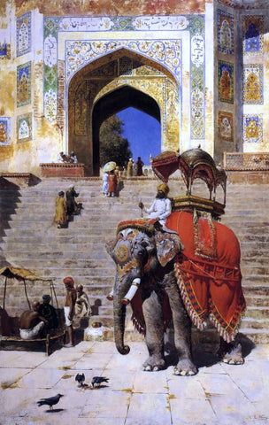 Edwin Lord Weeks A Royal Elephant at the Gateway to the Jami Masjid, Mathura - Hand Painted Oil Painting