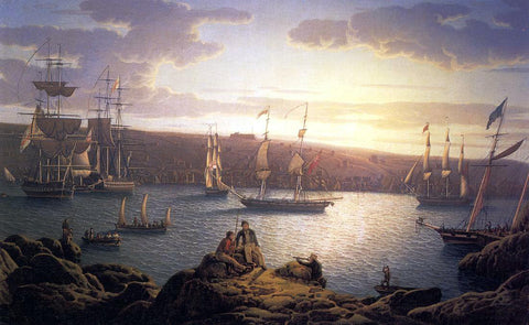 Robert Salmon Royal Naval Vessels off Pembroke Dock, Milford Haven - Hand Painted Oil Painting