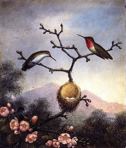 Martin Johnson Heade Ruby Throats with Apple Blossoms - Hand Painted Oil Painting