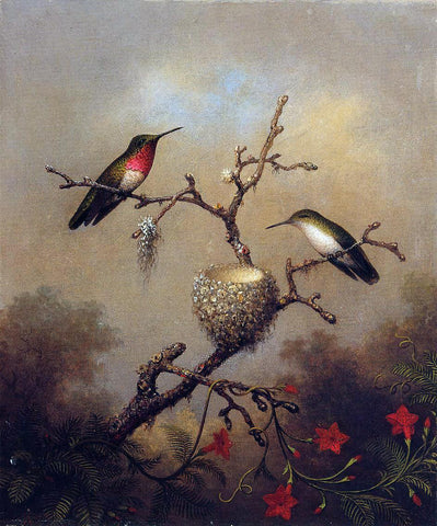 Martin Johnson Heade Ruby-Throated Hummingbird - Hand Painted Oil Painting