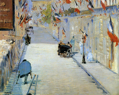 Edouard Manet Rue Mosnier Decorated with Flags, with a Man on Crutches - Hand Painted Oil Painting