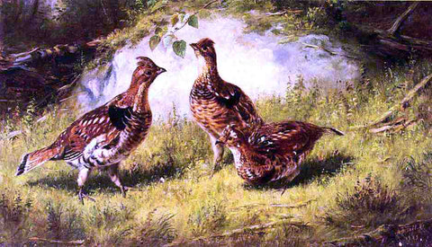 Arthur Fitzwilliam Tait Ruffed Grouse - Hand Painted Oil Painting