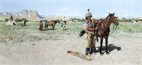 Henry F Farney Saddling Up - Hand Painted Oil Painting