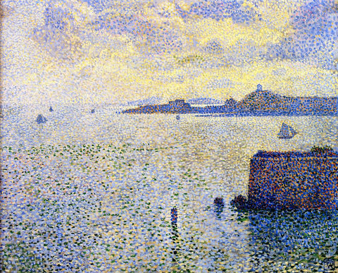 Theo Van Rysselberghe Sailboats and Estuary - Hand Painted Oil Painting