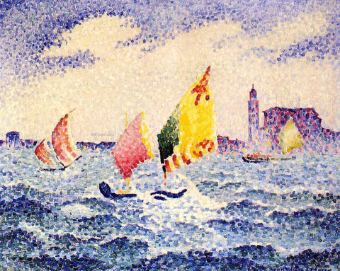 Henri Edmond Cross Sailboats near Chicago - Hand Painted Oil Painting