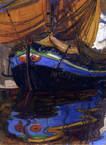 Egon Schiele A Sailing Boat with Reflection in the Water - Hand Painted Oil Painting