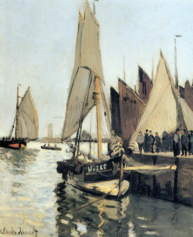 Claude Oscar Monet Sailing Boats at Honfleur - Hand Painted Oil Painting
