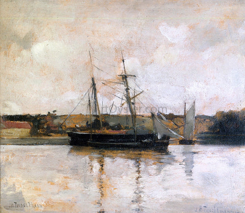 John Twachtman Sailing Boats, Dieppe Harbor - Hand Painted Oil Painting