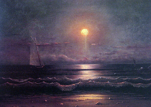 Martin Johnson Heade Sailing by Moonlight - Hand Painted Oil Painting