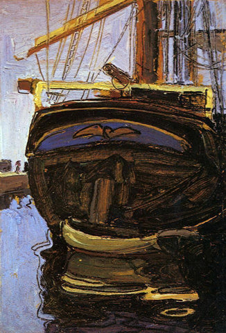 Egon Schiele Sailing Ship with Dinghy - Hand Painted Oil Painting