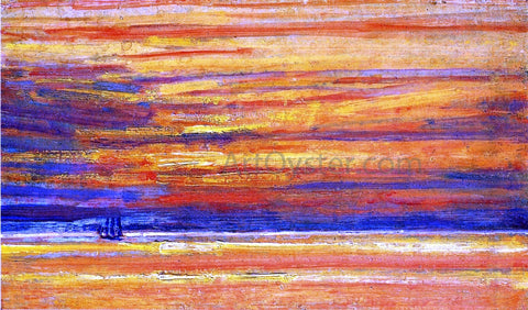 Frederick Childe Hassam Sailing Vessel at Sea, Sunset - Hand Painted Oil Painting