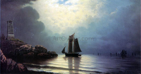 William Frederick De Haas Sailing Vessel off a Rocky Point - Hand Painted Oil Painting