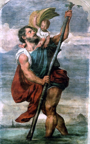 Titian Saint Christopher - Hand Painted Oil Painting