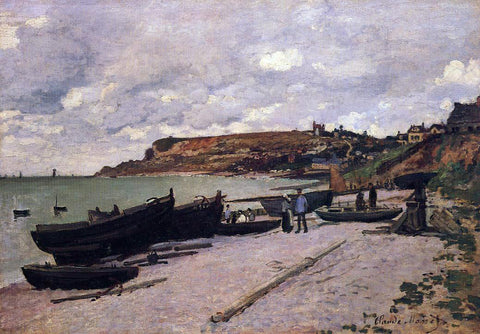 Claude Oscar Monet Sainte-Adresse, Fishing Boats on the Shore - Hand Painted Oil Painting
