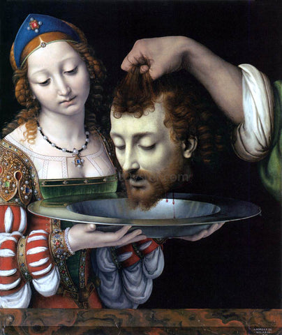 Andrea Solario Salome with the Head of St John the Baptist - Hand Painted Oil Painting