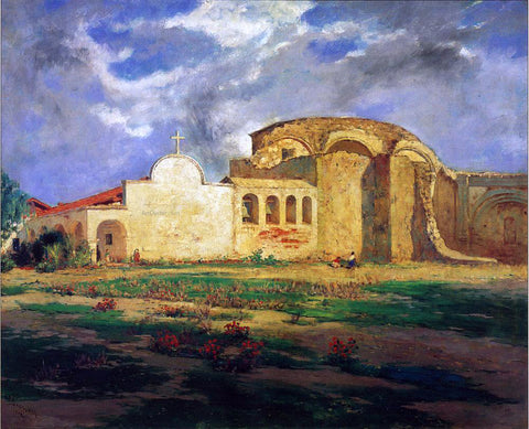 Frank Sauerwein San Juan Capistrano Mission - Hand Painted Oil Painting