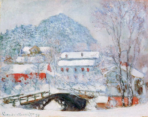 Claude Oscar Monet Sandviken Village in the Snow - Hand Painted Oil Painting