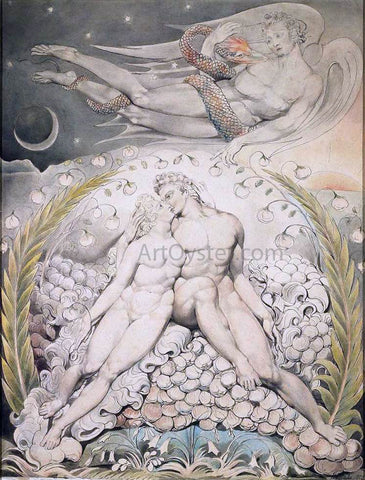William Blake Satan Watching the Caresses of Adam and Eve - Hand Painted Oil Painting