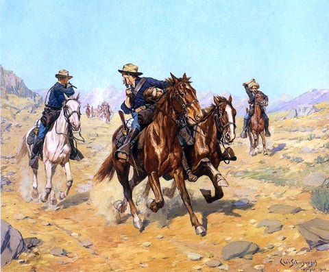 Charles Schreyvogel Saving Their Lieutenant - Hand Painted Oil Painting
