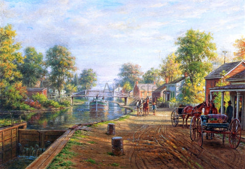 Edward Lamson Henry Scene Along Delaware and Hudson Canal - Hand Painted Oil Painting