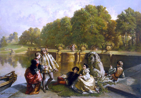 Jozef Hubert Lies Scene in a Park - Hand Painted Oil Painting