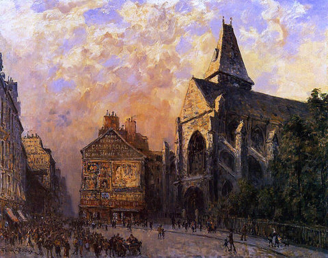 Frank Myers Boggs Scene of a Street in front of the Church of Saint-Medard, Paris - Hand Painted Oil Painting