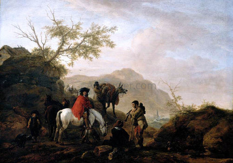 Philips Wouwerman Scene on a Rocky Road - Hand Painted Oil Painting