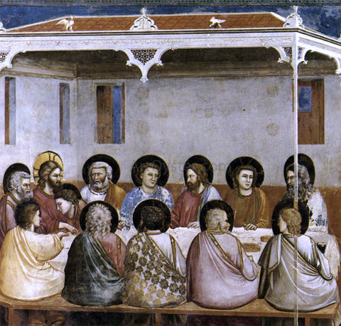 Giotto Di Bondone Scenes from the Life of Christ: 13. Last Supper (Cappella Scrovegni (Arena Chapel), Padua) - Hand Painted Oil Painting
