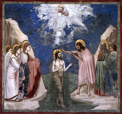 Giotto Di Bondone Scenes from the Life of Christ: 7. Baptism of Christ (Cappella Scrovegni (Arena Chapel), Padua) - Hand Painted Oil Painting