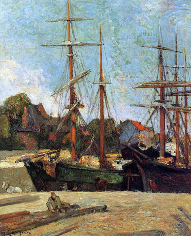 Paul Gauguin A Schooner and Three-Master - Hand Painted Oil Painting