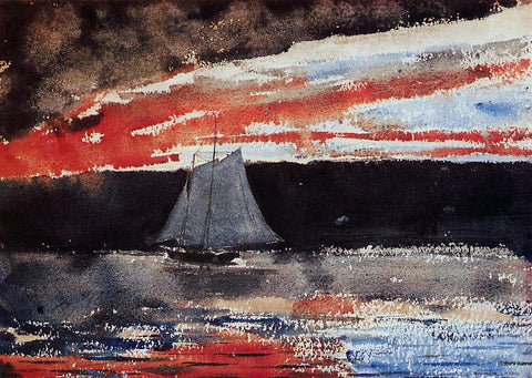 Winslow Homer Schooner at Sunset - Hand Painted Oil Painting