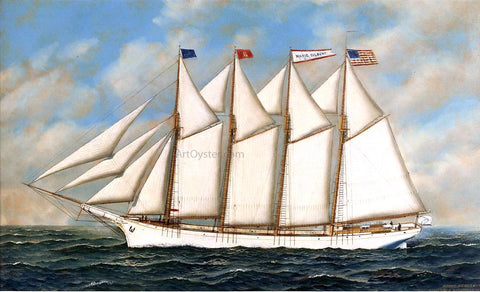 "Antonio Jacobsen Schooner ""Marie Gilbert"" - Hand Painted Oil Painting"