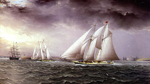 James E Buttersworth Schooner Race in New York Harbor - Hand Painted Oil Painting