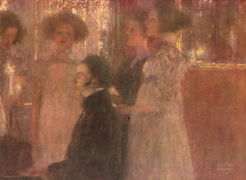 Gustav Klimt Schubert at the Piano - Hand Painted Oil Painting
