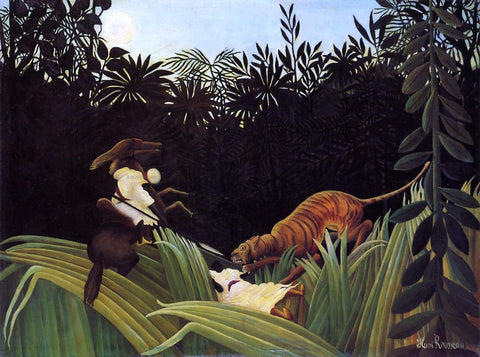 Henri Rousseau Scout Attacked by a Tiger - Hand Painted Oil Painting