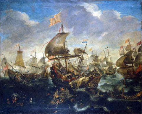 Andries Van Eertvelt A Sea Battle - Hand Painted Oil Painting