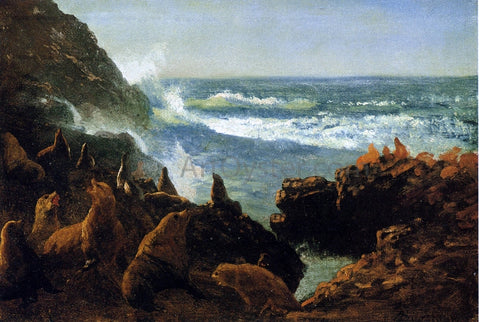 Albert Bierstadt Sea Lions, Farallon Islands - Hand Painted Oil Painting