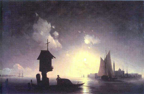 Ivan Constantinovich Aivazovsky Sea View with chapel - Hand Painted Oil Painting