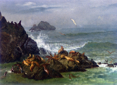 Albert Bierstadt Seal Rocks, Pacific Ocean, California - Hand Painted Oil Painting