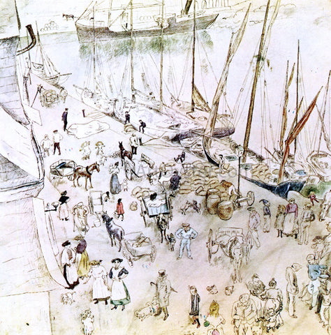 Jules Pascin Seaport - Hand Painted Oil Painting