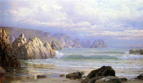William Trost Richards Seascape: Along the Cliffs - Hand Painted Oil Painting